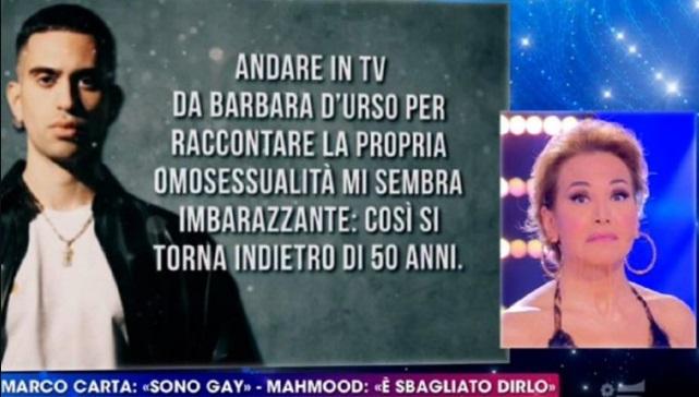 Barbara D'Urso risponde a Mahmood