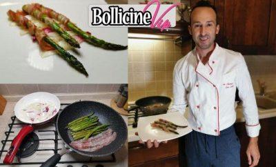 Marino Chef in mutande, Asparagi, bacon e cipollotto rosso di tropea